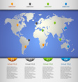 Info graphic with color pointers on the world map vector image vector image