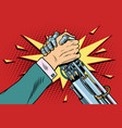man vs robot arm wrestling fight confrontation vector image vector image