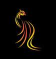 modern flaming phoenix symbol vector image