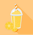 orange juice in plastic grass vector image vector image