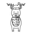 reindeer with hat and gift box celebration merry vector image vector image