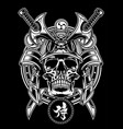 samurai warrior skull with traditional japanese vector image vector image