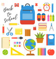 school supplies icon set in flat design for back vector image vector image