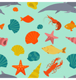 Sea animals seamless pattern flat style vector image vector image