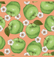 seamless pattern with apples and flowers vector image