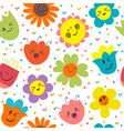 Seamless pattern with funny flowers Cute cartoon vector image vector image