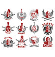 set of knight emblems design elements for logo vector image vector image
