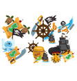 set on the theme of pirates and marine vector image