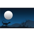 Silhouette of dilophosaurus with moon vector image vector image