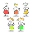 sketch of little people with stars of rating hand vector image vector image