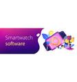 smartwatch app concept banner header vector image vector image