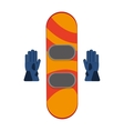 snowboard with gloves winter sport icons vector image
