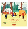 social camping web banner design template vector image