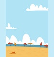 summer seascape background sand beach with many vector image
