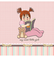 sweet little girl reading a book vector image vector image