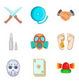 unlawful act icons set cartoon style vector image vector image