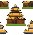 wooden house norwegian ancient building seamless vector image vector image