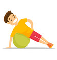 young caucasian white man exercising with fitball vector image