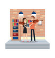 young couple playing instruments in the house vector image
