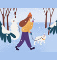 young woman in warm outerwear walking dog in park vector image vector image
