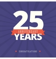 25 year anniversary card poster template vector image