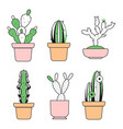 hand drawn outline cactus with color vector image