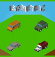 isometric car set of auto autobus freight and vector image