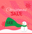 banner square christmas sale with snowman vector image vector image