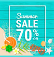 beach item and sand on wooden for 70 percent off vector image vector image
