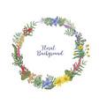 beautiful hand drawn wreath or circular garland vector image vector image