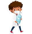 boy in doctor costume holding hand soap objects vector image vector image