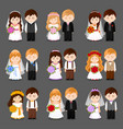 bride and groom big set of newlywed couple vector image