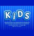 cartoon kid alphabet blue for decoration design vector image vector image