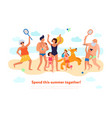 family summer flat composition vector image
