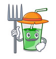Farmer green smoothie character cartoon