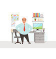 fat bald man in office worker in formal clothing vector image