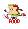 funny of a vegetable sandwich jogging vector image vector image