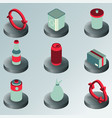 garbage color isometric icons vector image vector image