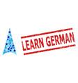 grunge learn german stamp imitation and arrowhead vector image vector image