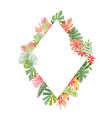 hand drawn tropical flower rhombus frame vector image vector image