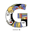 letter g with masks vector image vector image