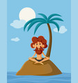 lonely man on a deserted island cartoon vector image