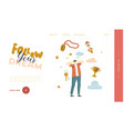 male character dreaming success landing page vector image