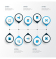 media icons colored set with bookmark cinema vector image