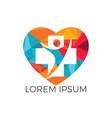 medical cross heart shape logo design vector image vector image