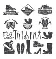 monochrome of various tools for shoe vector image vector image