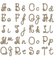 old rope alphabet from a to t vector image
