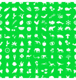 one hundred different nature theme icons set green vector image