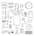 outlined one color medical symbols and icons vector image vector image
