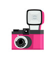 pink and black analog film camera with flash flat vector image vector image